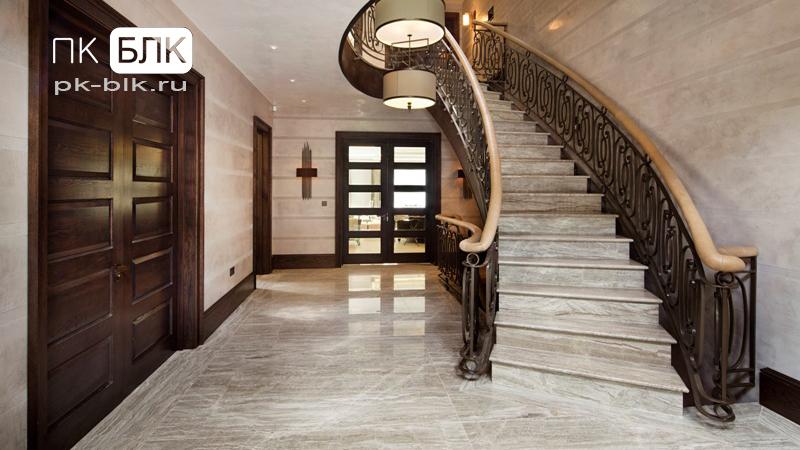 отделка бетонных лестниц камнем