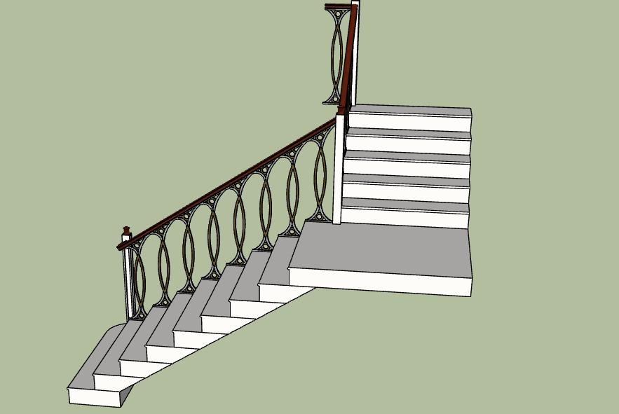Г-образная лестница с площадкой на второй этаж