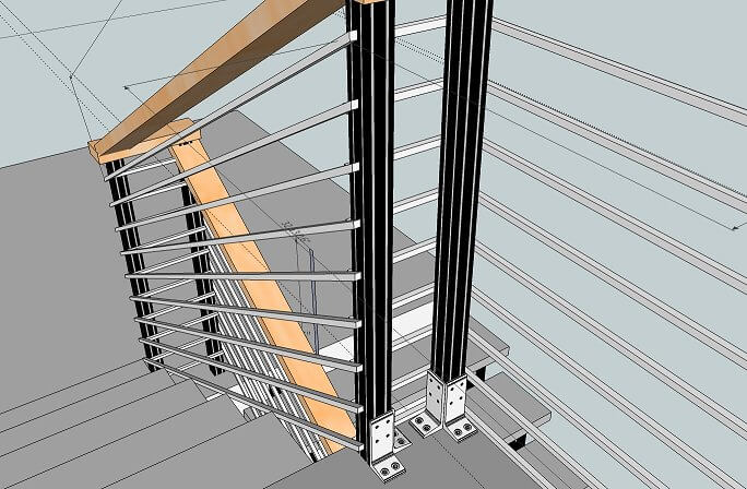 Как крепить перила к бетонной лестнице?